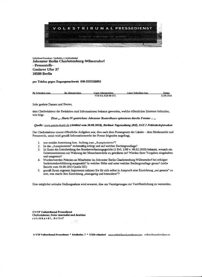 Anfrage JC Berlin-VTP