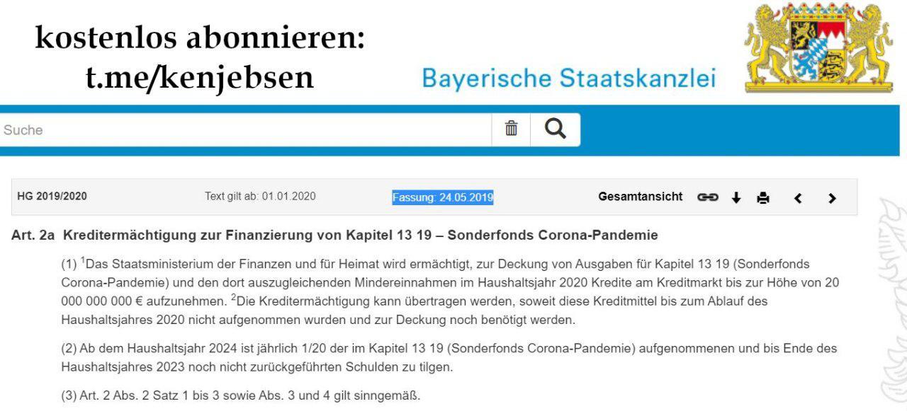 sonderfond Bayern CORONA 24.05.2019